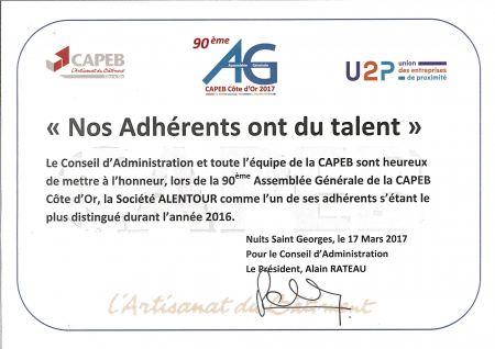 La société Alentour a été mise à l'honneur pendant la 90-ème assemblée générale de la CAPEB Côte D'Or le 17 mars 2017.