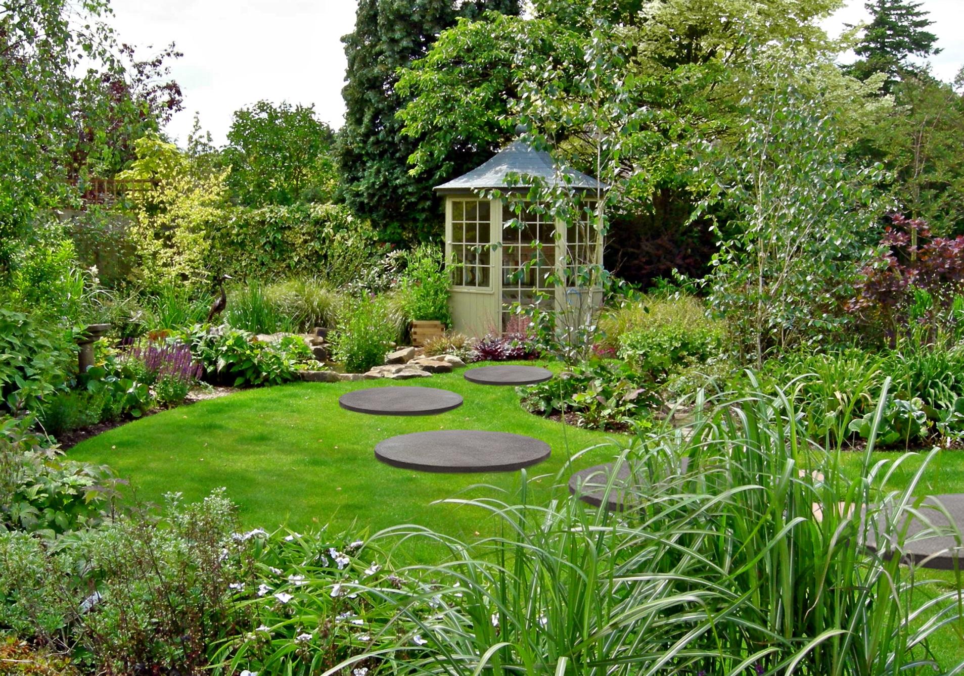 Dalle de jardin ronde béton désactivé diamètre 80 cm