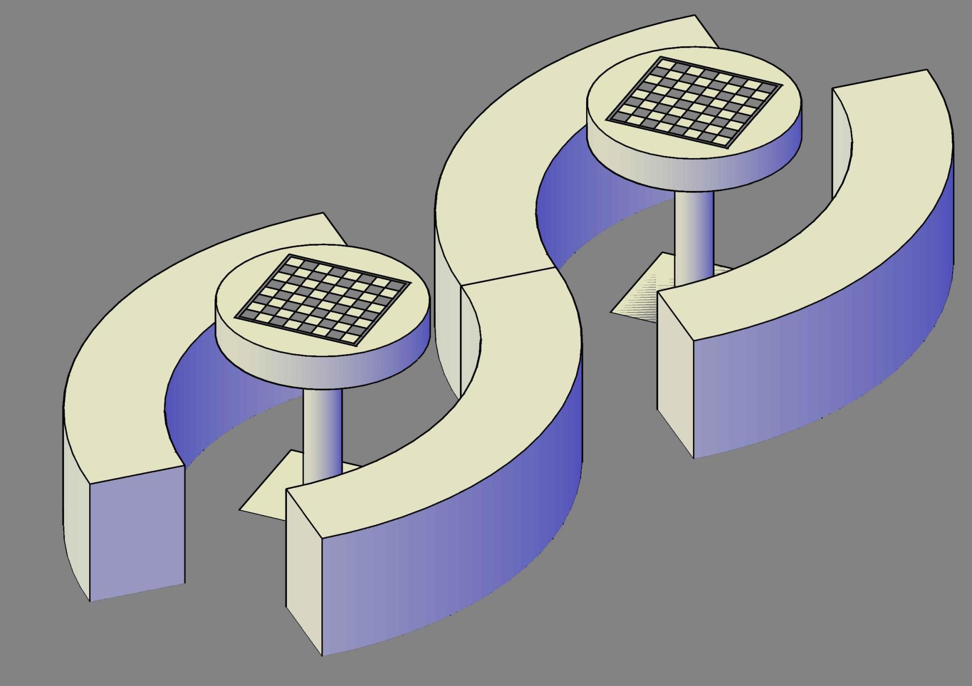tables et bancs courbes 3D béton jeu echecs