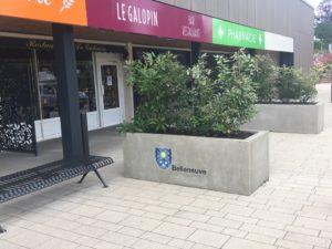 Jardinière en béton, bac-a-fleurs personnalisé avec un logo de la commune de Belleneuve, 21; mobilier urbain sur mesure.