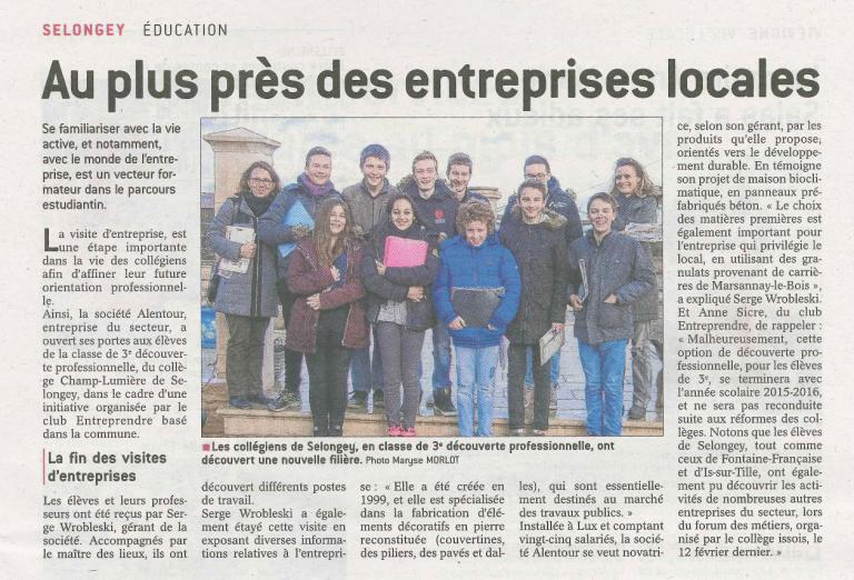 Article-Alentour-collège-selongey-visite-entreprise-bien-public-fev-2016